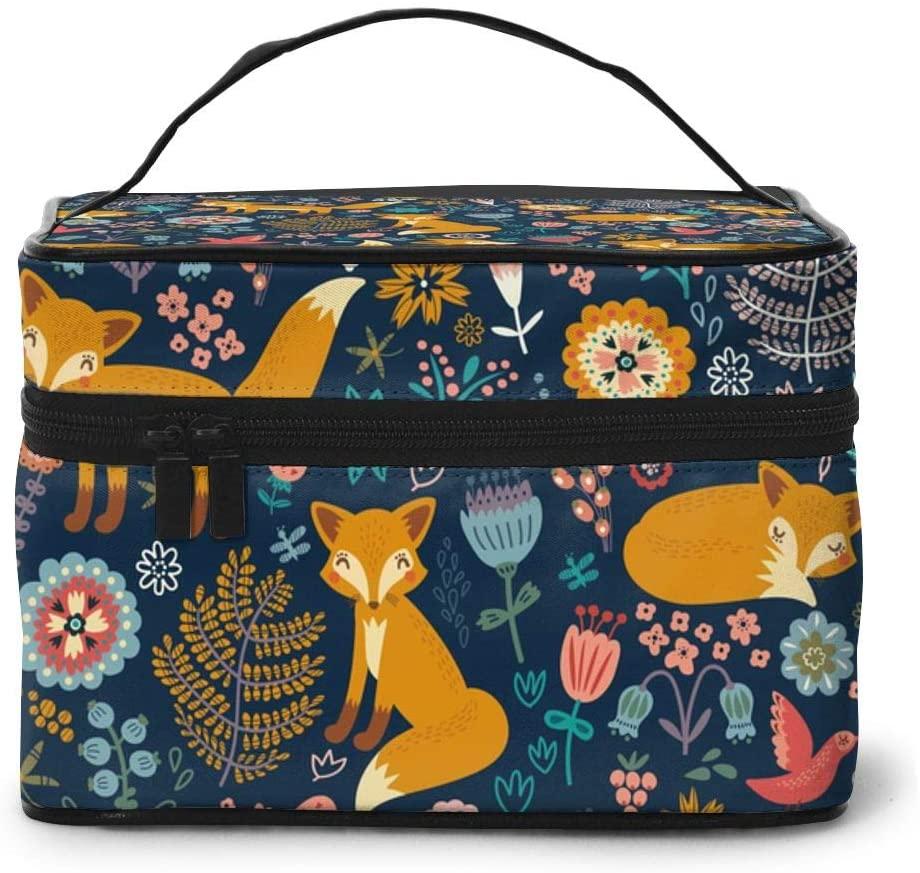 AHOOCUSTOM for Women Fox Flower Travel Makeup Bag Organizer, Portable Cosmetic Beauty Train Case Toiletry Bag Gift Organizer