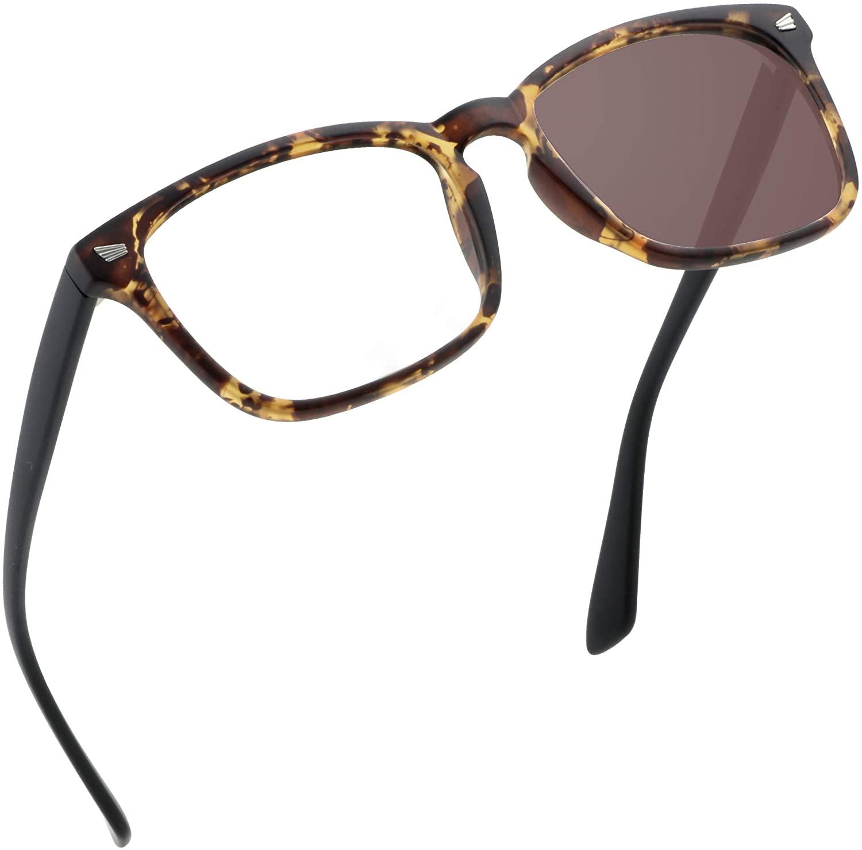 Bifocal Reading Glasses, Photochromic Brown Sunglasses, 1.00/+4.00 Magnification for Men/Women