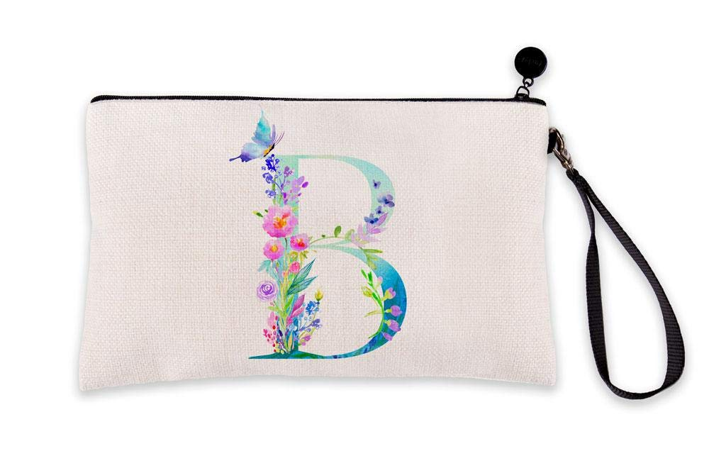 Di Lewis Personalized Makeup Bag for Women – Letter B Monogram - Cute Travel Organizer Toiletry Cosmetic Pouch with Multicolor Floral Design – Best for Bridal, Bridesmaid, Teacher Gifts – 6x9 in