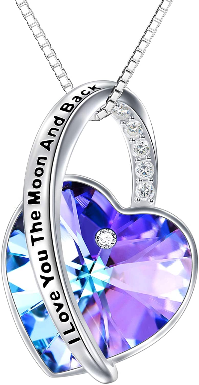 TOUPOP Infinity Heart Necklace 925 Sterling Silver Pendant Necklace with Purple Heart Crystal and Engraved I Love to The Moon and Back Jewelry Gifts for Women Teen Girls Birthday