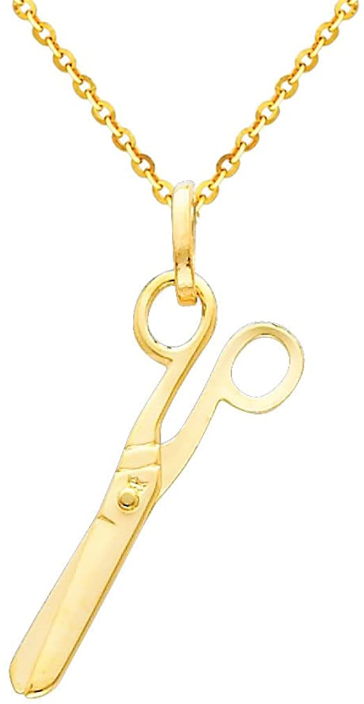 GM Fine Jewelry 14k Yellow Gold Scissors Charm Pendant with 1.2mm Side Diamond-Cut Rolo Cable Chain Necklace