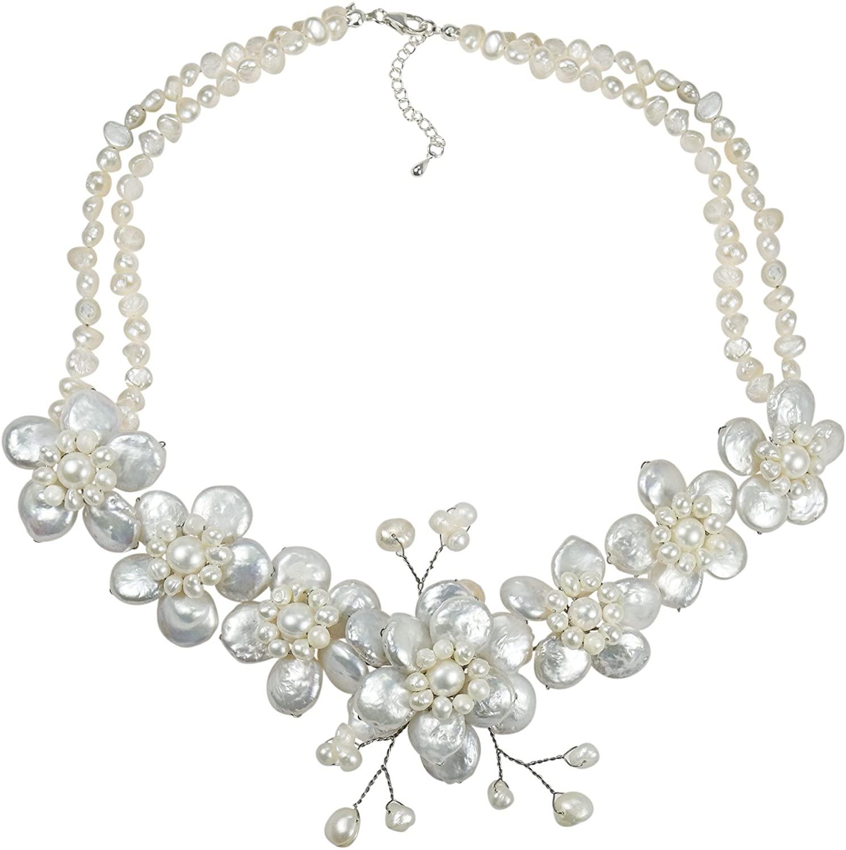 AeraVida White Coin Cultured Freshwater Pearl Cluster Sakura Flower .925 Sterling Silver Necklace