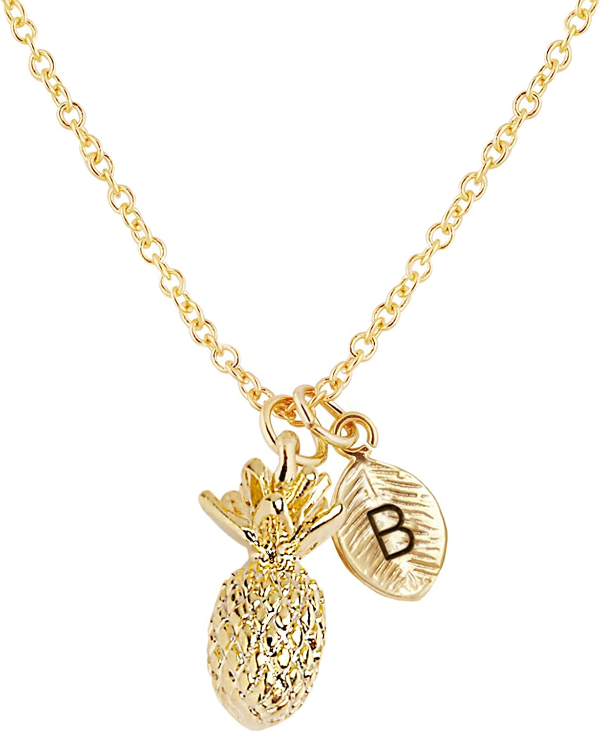 MignonandMignon Tropical Gold Pineapple Necklace Pineapple Womens Initial Pineapple Charm Summer Outdoors Summer Party Summer Gift - 3PAN-L