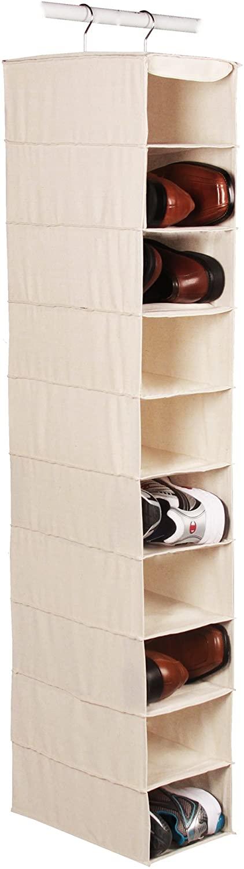 Richards Homewares Hanging Ten Shoe Large Shelf Organizer-Canvas/Natural 50