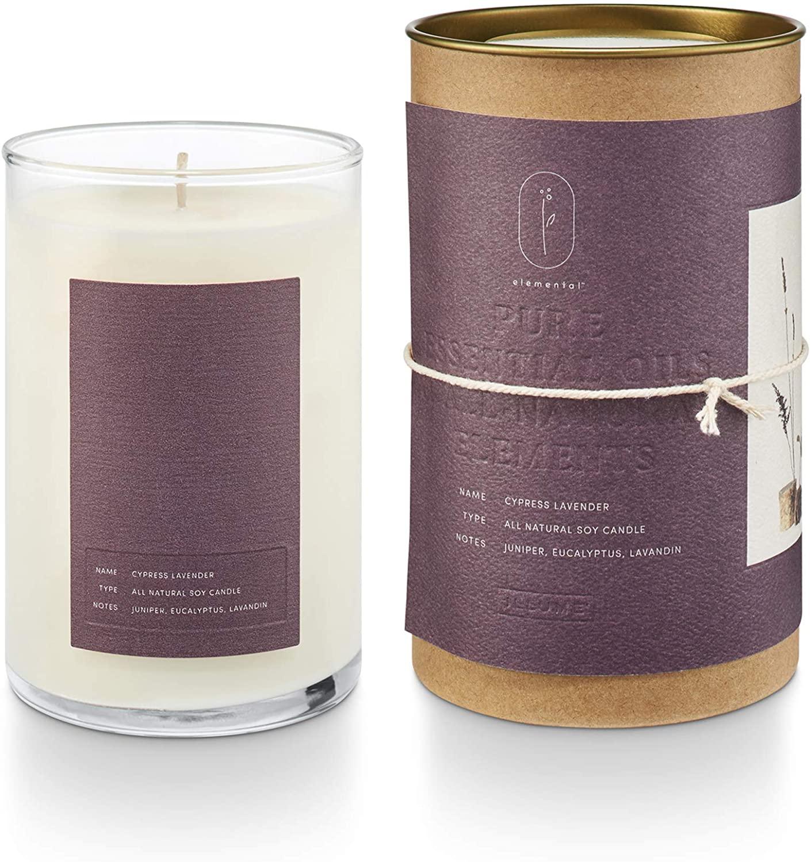 Illume Elemental Collection, Cypress Lavender Natural Glass, 11.5oz Candle, 11.5 oz, Purple