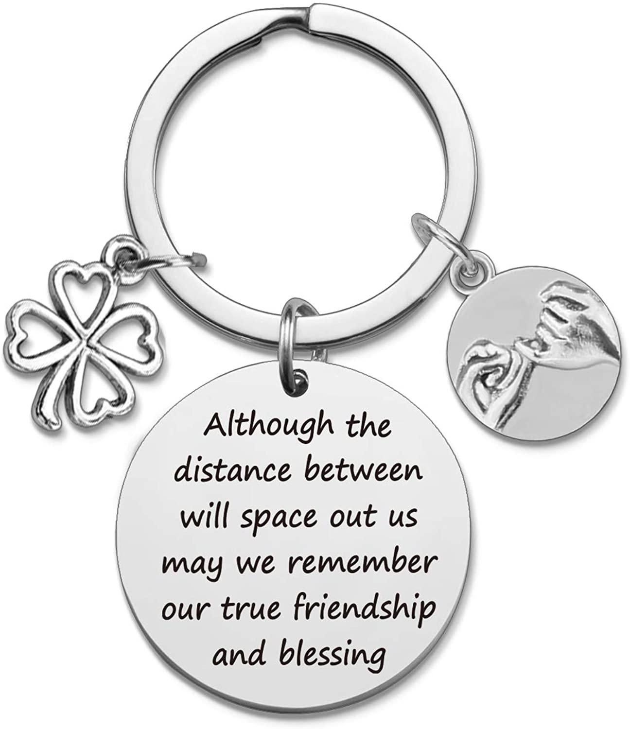 HN HNHB Friendship Keychain Although The Distance Between Will Space Out us May we Remember Our True Friendship and Best Friend Blessing Birthday Parting Gift Commemorative