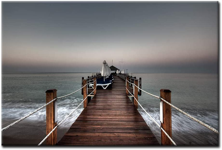 First Wall Art - Long Pier Impassive Lake Clear Sky Wall Art Painting Pictures Print On Canvas City The Picture for Home Modern Decoration