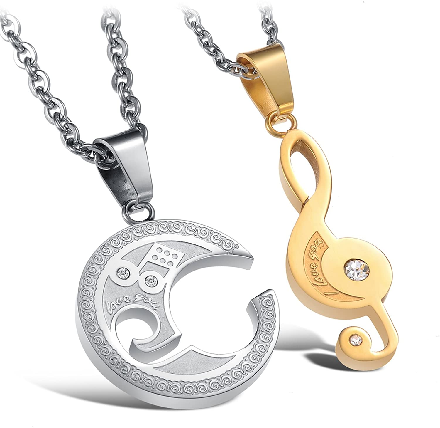 OeOeOs Music Symbol Pendant Titanium Steel Couple Necklace Steel Necklace Inlaid Shinning Crystal Drill