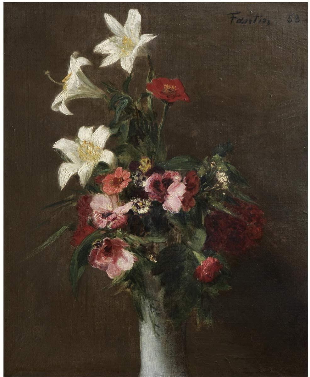 Berkin Arts Henri Fantin Latour Giclee Canvas Print Paintings Poster Reproduction(Flowers in A Porcelain Vase) #XFB