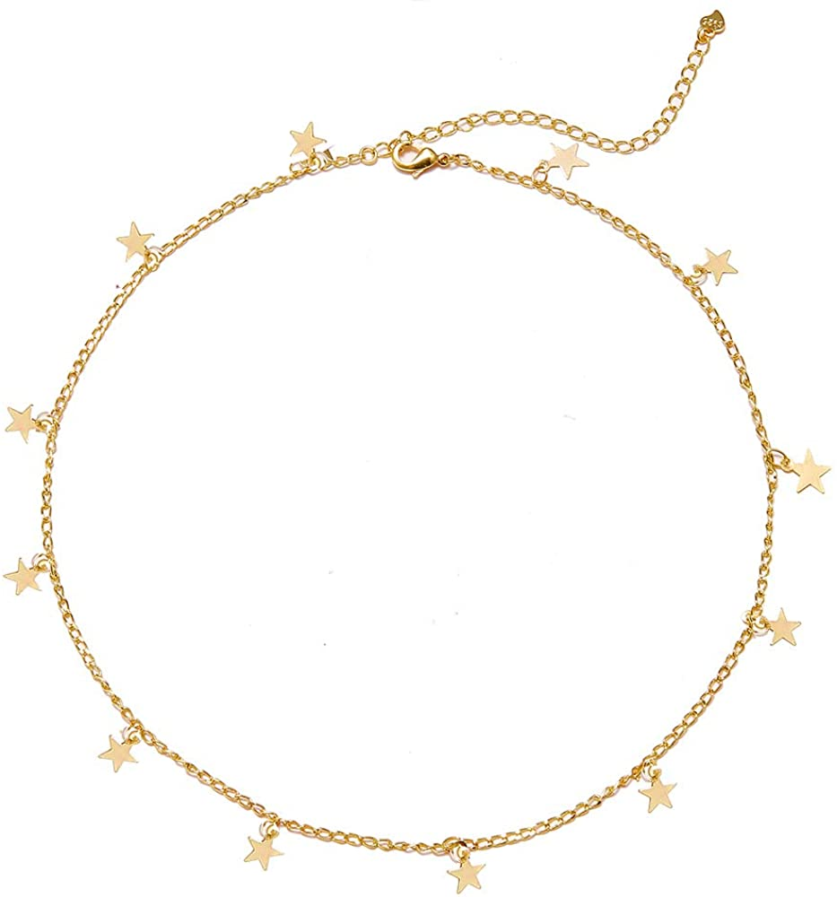 Long tiantian Gold Star Choker Necklace for Women Cute Necklace for Teen Girls Trendy Star Necklace Choker Adjustable