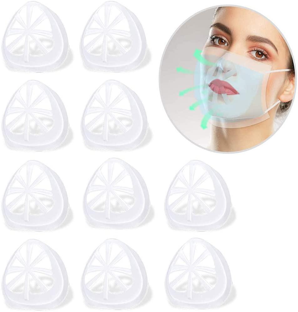 3D Face Covered Holder Bracket Support Frame for Sport,Women Kid Prevent Lipstick Off (White 10pc)