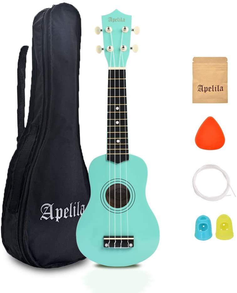 Apelila 21 inch Soprano Ukulele Acoustic Mini Guitar Musical Instrument with Bag, Pick, Strings, for Kid, Children (Seafoam Green)