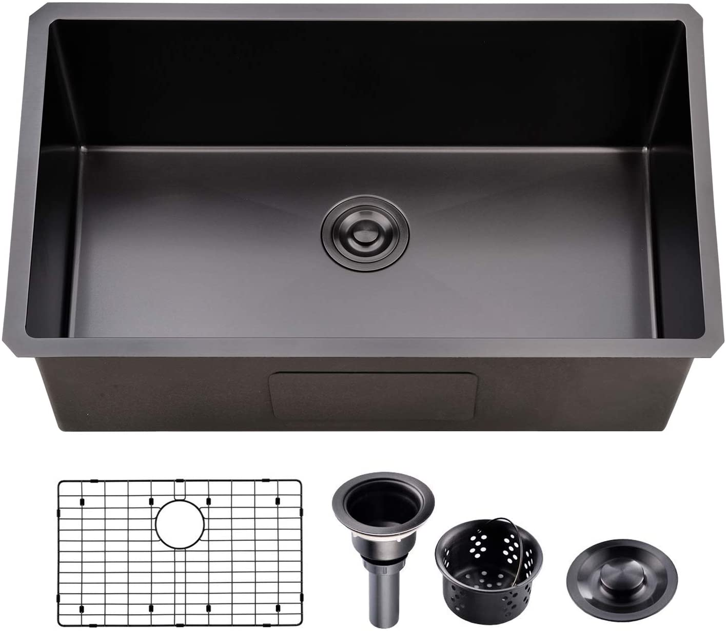 Ufaucet Commercial 32 Inch Extremely Durable Dark Grey Black Nano Titanium Plating T304 Stainless Steel Kitchen Sink,16 Gauge Undermount Single Bowl Handmade R10 Kitchen Sinks Includes Drain and Grid