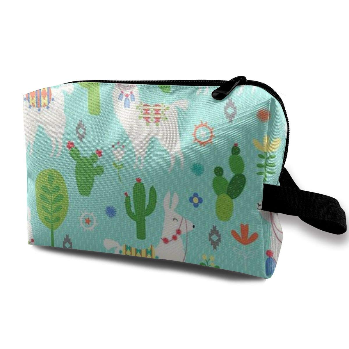 Travel Pouch Storage Bags Baskets Cosmetic Makeup Bag Llama And Cactus Mint Green