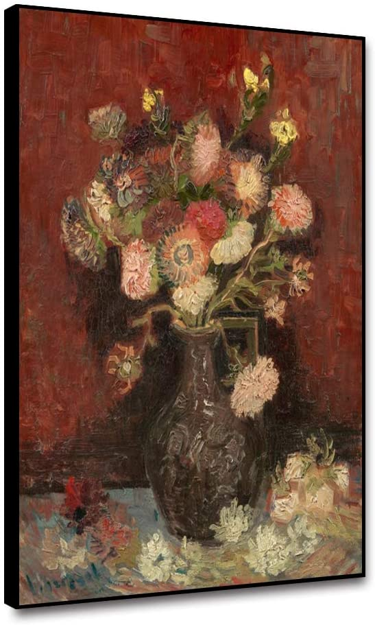 Renaiss Framed Canvas Home Artwork Decoration Painting Vincent Van Gogh Vase with Chinese Asters and Gladioli Oil Painting for Hotel Office Lounge Teahouse Wall Decor - 18x24 Inches