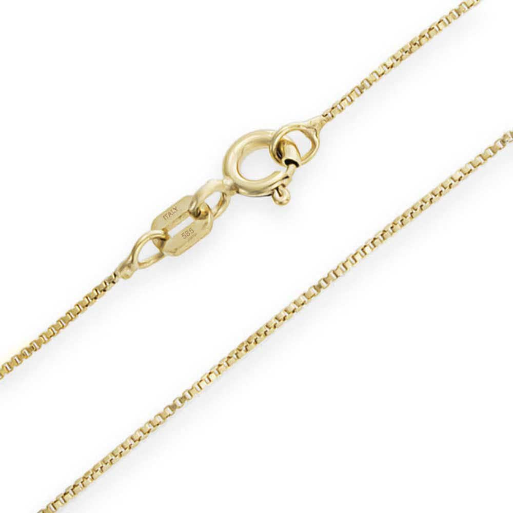 Unisex Delicate 1MM Thin Real 14K White Yellow Rose Gold Box Chain Necklace For Women 14-24 Inch