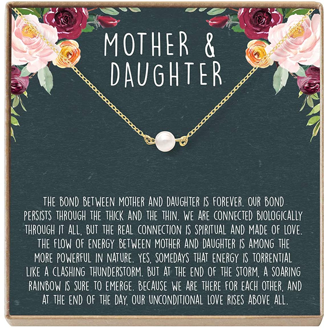 Mother & Daughter Necklace - Heartfelt Card & Jewelry Gift for Birthday, Holiday