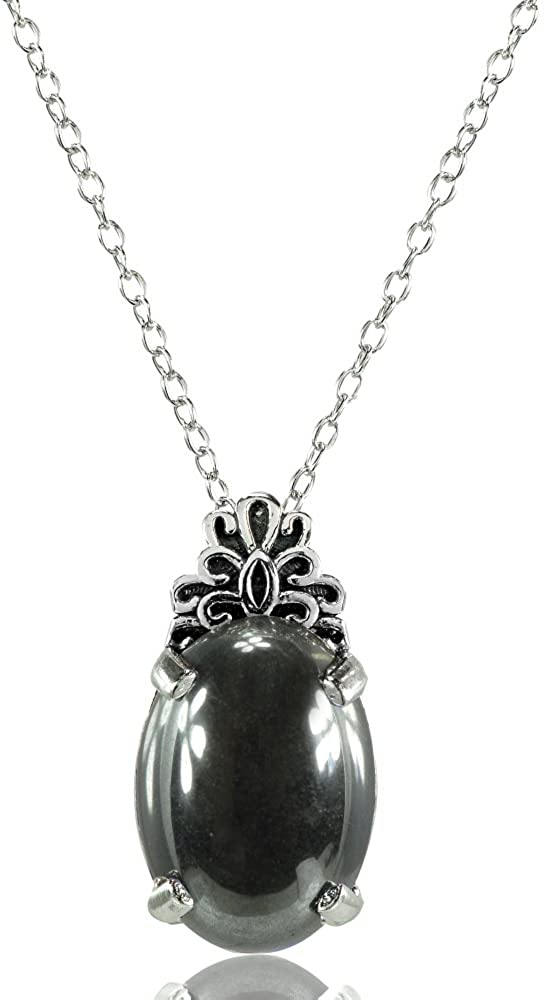 Ice Gems Sterling Silver Simulated Gemstone Oxidized Bali Inspired Filigree Oval Necklace