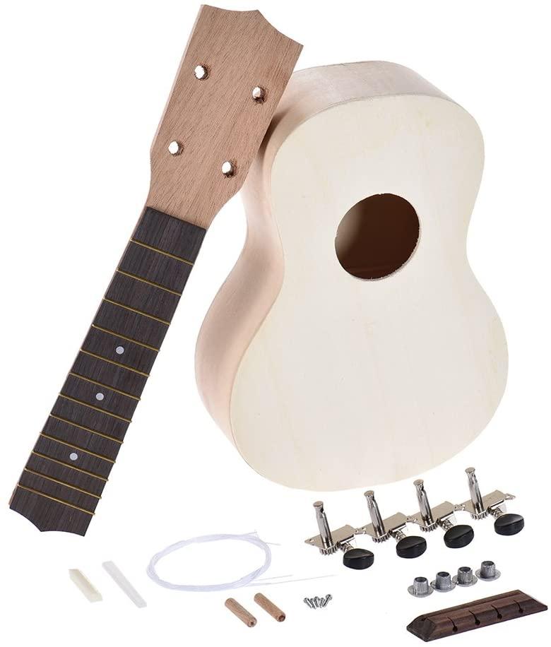 ammoon 21 inch Soprano Ukelele Ukulele Hawaii Guitar DIY Kit Maple Wood Body & Neck Rosewood Fingerboard with Pegs String Bridge Nut