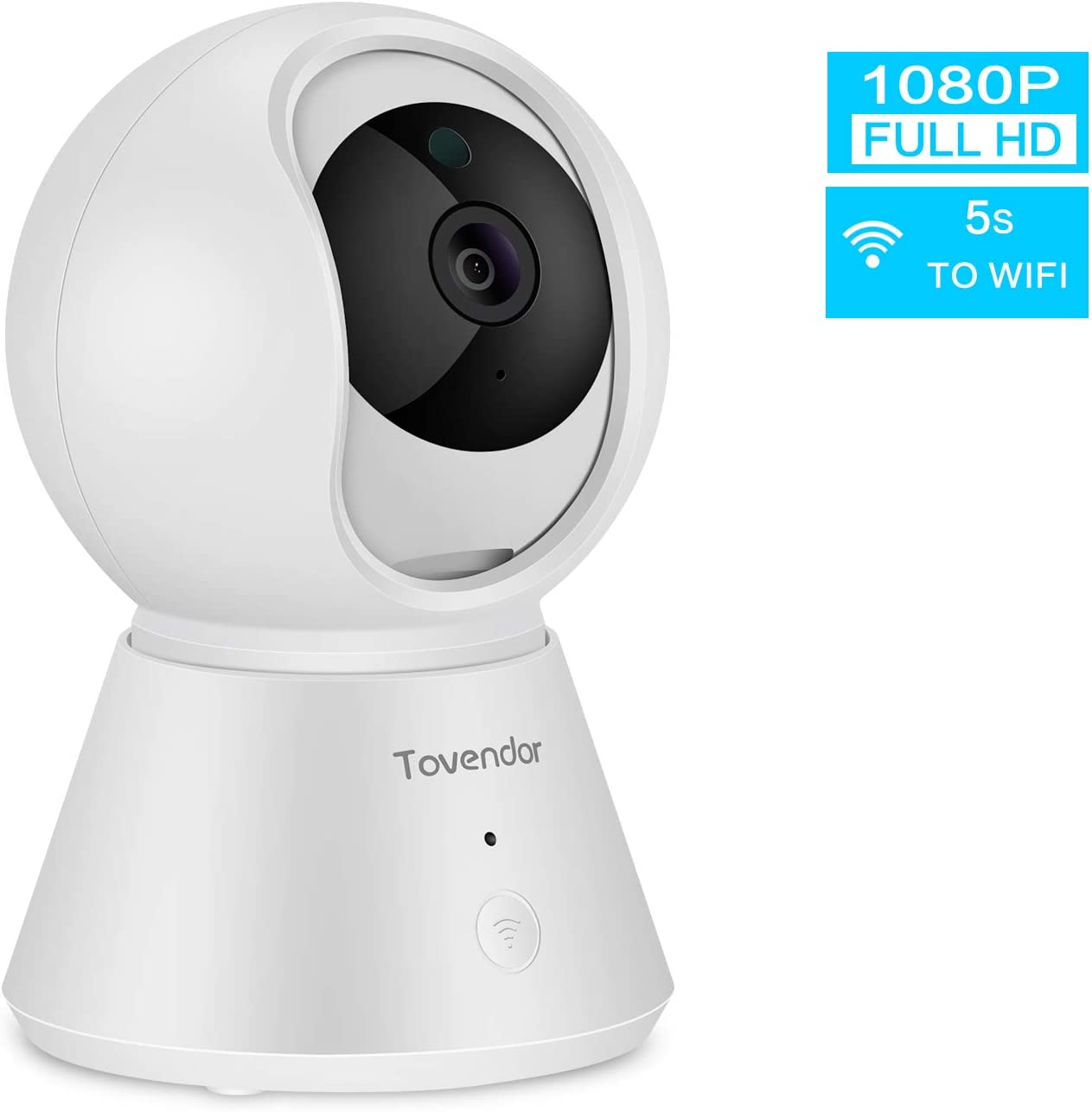 Tovendor 1080P Security Camera with Smart Motion Tracking Sound Detection Alert, 2.4G WiFi Indoor IP Camera for Baby, Pet and Elderly, IR Night Vision, 2-Way Audio