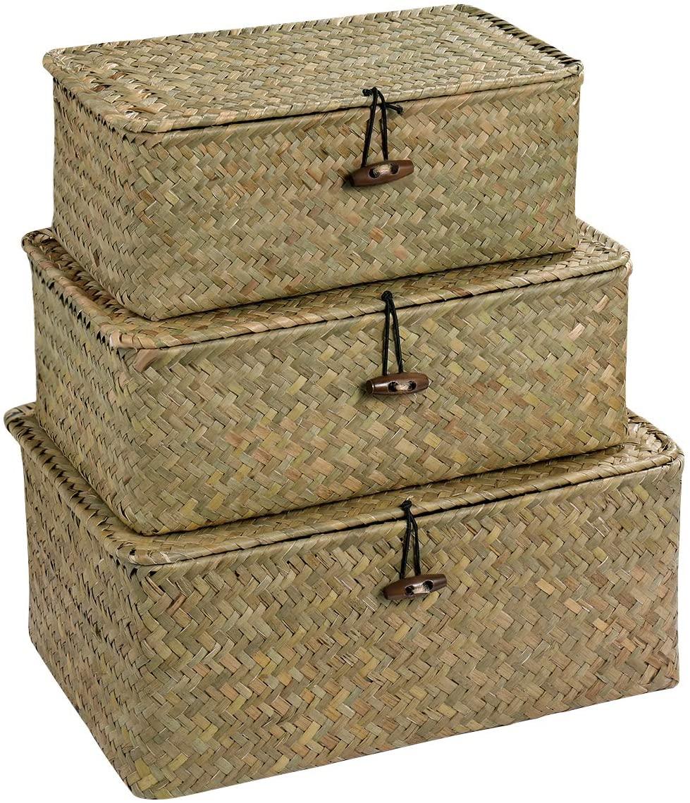Vosarea Rattan Storage Basket Makeup Organizer Multipurpose Container with Lid (S/M/L)