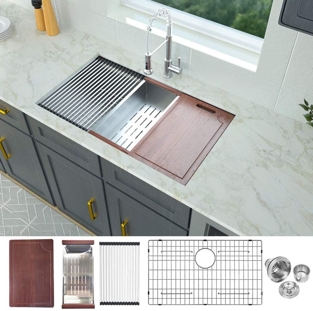 32 Kitchen Sink Undermount - Logmey Workstation Kitchen Sink Undermount Single Bowl 18 Gauge Stainless Steel Kitchen Sink, 32