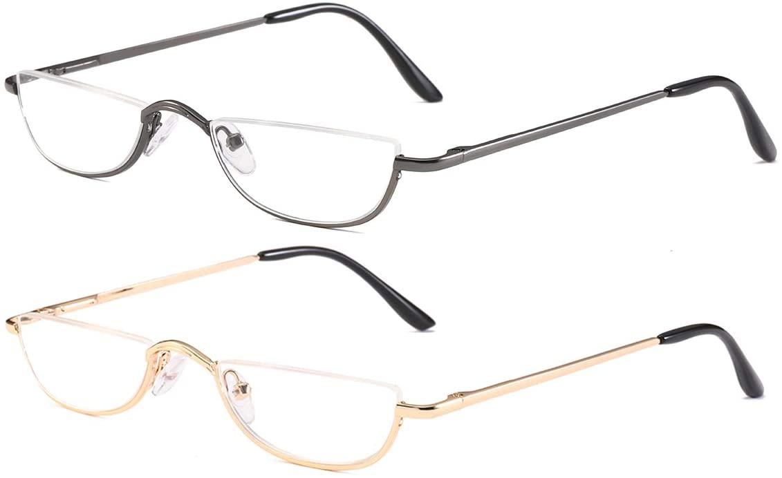 2 Pairs Half Rim Metal Frame Reading Glasses Vintage Alloy Half Moon Eyeglasses Spring Hinge Readers for Men and Women 3.50