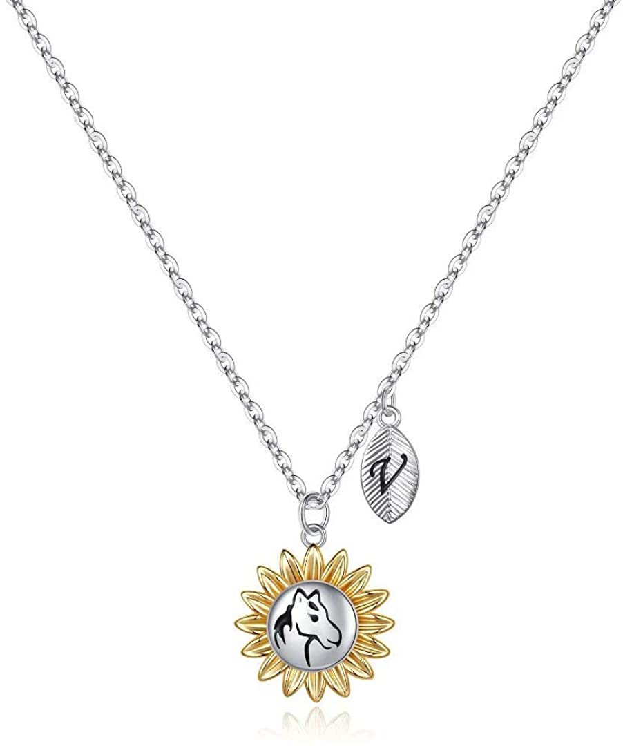 Memorjew Sunflower Horse Necklace for Girls, Dainty Silver Initial Necklace Kids Jewelry Horse Gifts Sunflower Gifts for Girls