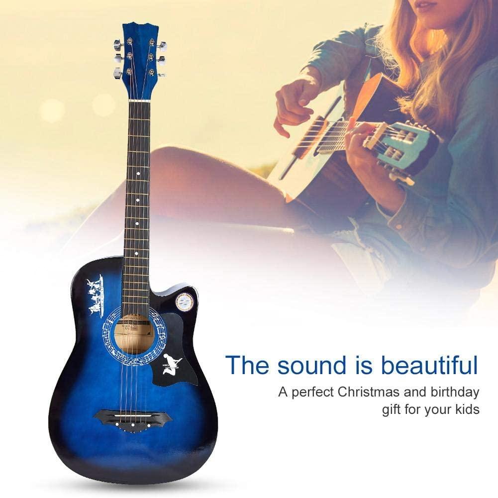 Blue Wood Folk Guitar Dreadnought Cutaway Beginner Tuner Kit Natural Acoustic Guitar Bundle Kit with Accessories