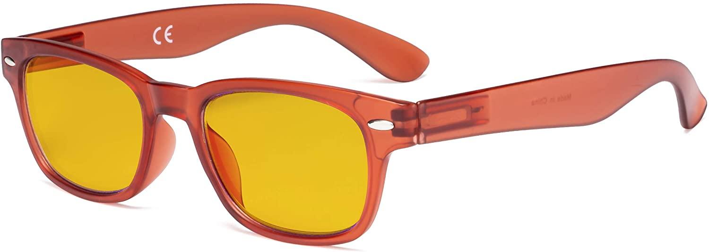 Eyekepper Ladies Blue Light Blocking Glasses with Amber Filter Lens - Retro Computer Eyeglasses Women - Orange
