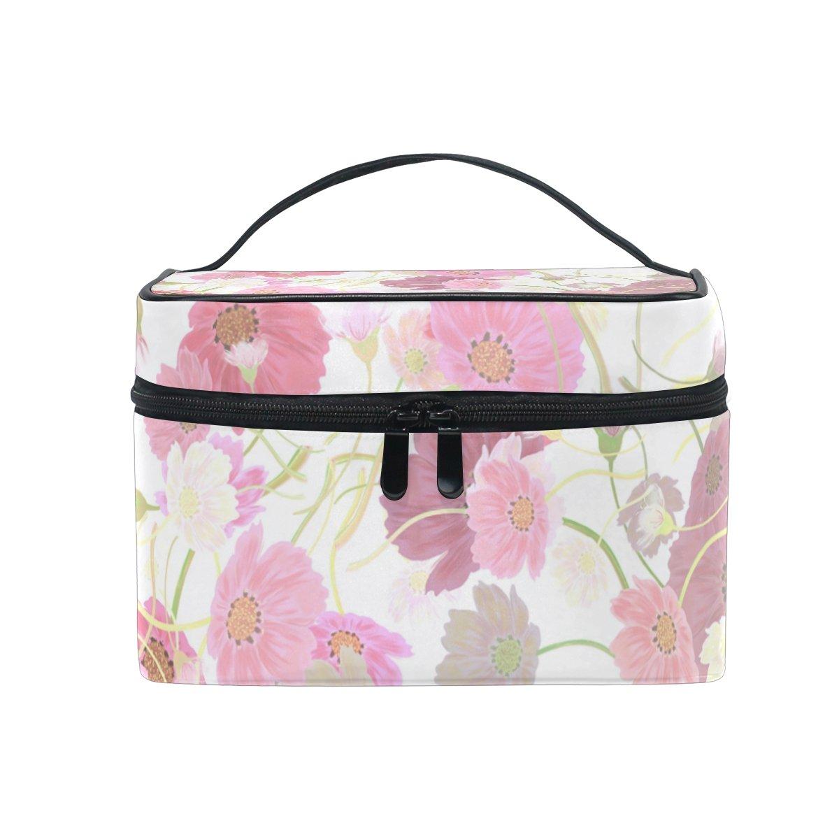 SAVSV Pink Flowers Cosmetic Bag Toiletry Bags Travel Makeup Large Organizer Portable Multifunction Case for Women Girls