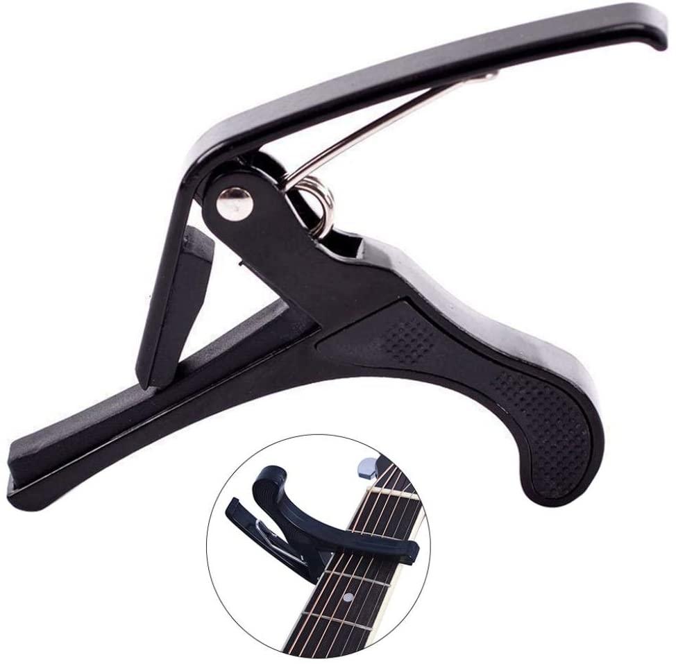 LOadSEcr's Musical Instruments Tool, Ukulele Capo Clamp Metal Change Tone Clip Electric Guitar Bass Ukelele Accessories - Black