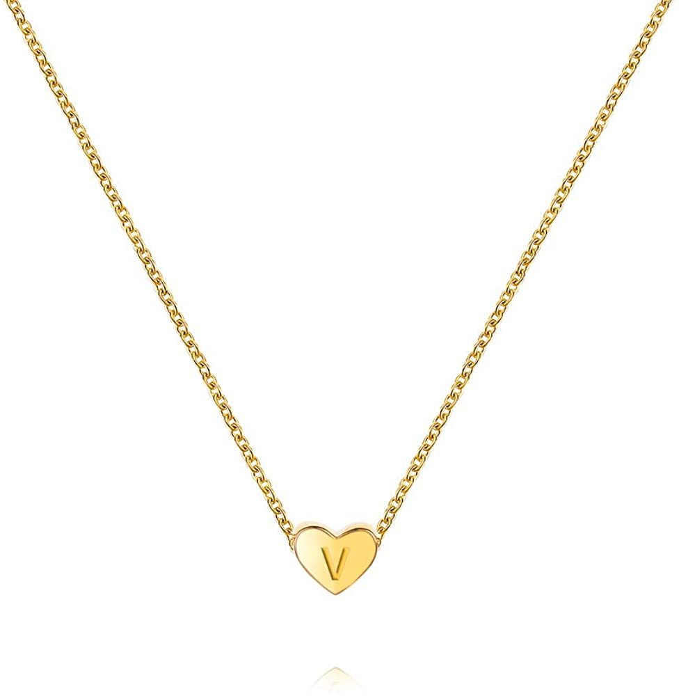 Tiny Initial Heart Necklace-18K Environmentally Friendly Gold Plated Letter Adjustable Necklace - Cute & Strong & Colorfast- Free Box Gift For women