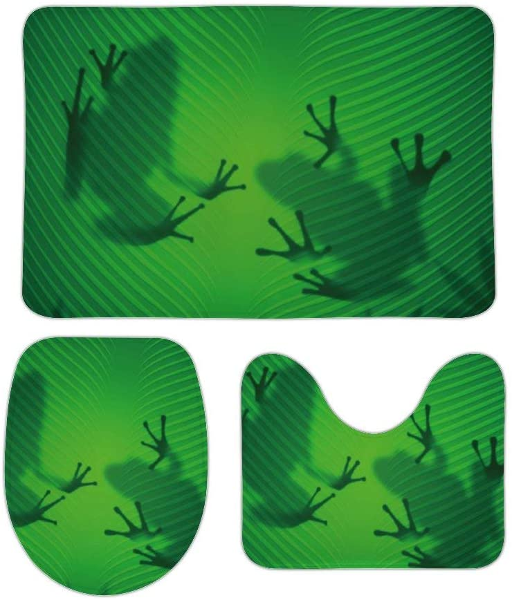 Frog Shadow Silhouette On The Banana Tree Leaf Family Bathroom Rugs and Mats Sets 3 Piece Bath Mat, U-Shaped Contour Shower Mat Non Slip Absorbent, Velvet Toilet Lid Cover Washable 16x24 in