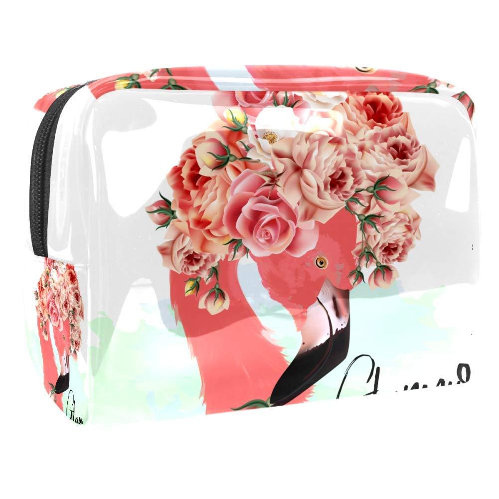 Pink Flamingo And Roses Makeup Bag PVC Waterproof Cosmetic Pouch Portable Handbag for Makeup Tools Organize