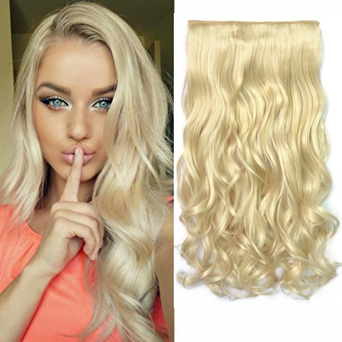REECHO® 20 1-Pack 3/4 Full Head Curly Wave Clips in on Synthetic Hair Extensions Hairpieces for Women 5 Clips 4.6 Oz per Piece - Blonde