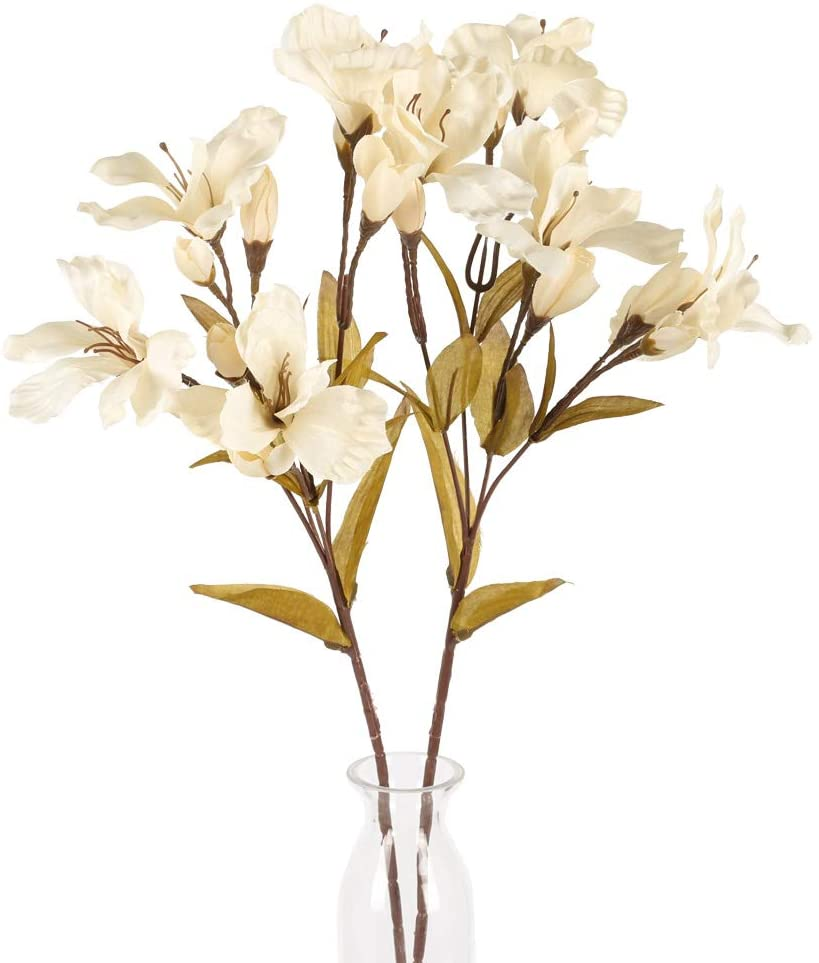 AILANDA 2PCS Artificial Lily Flowers Faux Floral Decor Silk Flowers Milk White Wild Lily Artificial Long Stem Fakes Plants for Home Wedding Party Indoor Outdoor Table Centerpieces