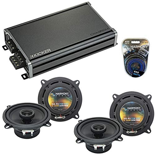 Compatible with BMW Z3 1997-2002 Factory Speaker Replacement Harmony Audio Bundle (2) R5 & CXA360.4 Amplifier