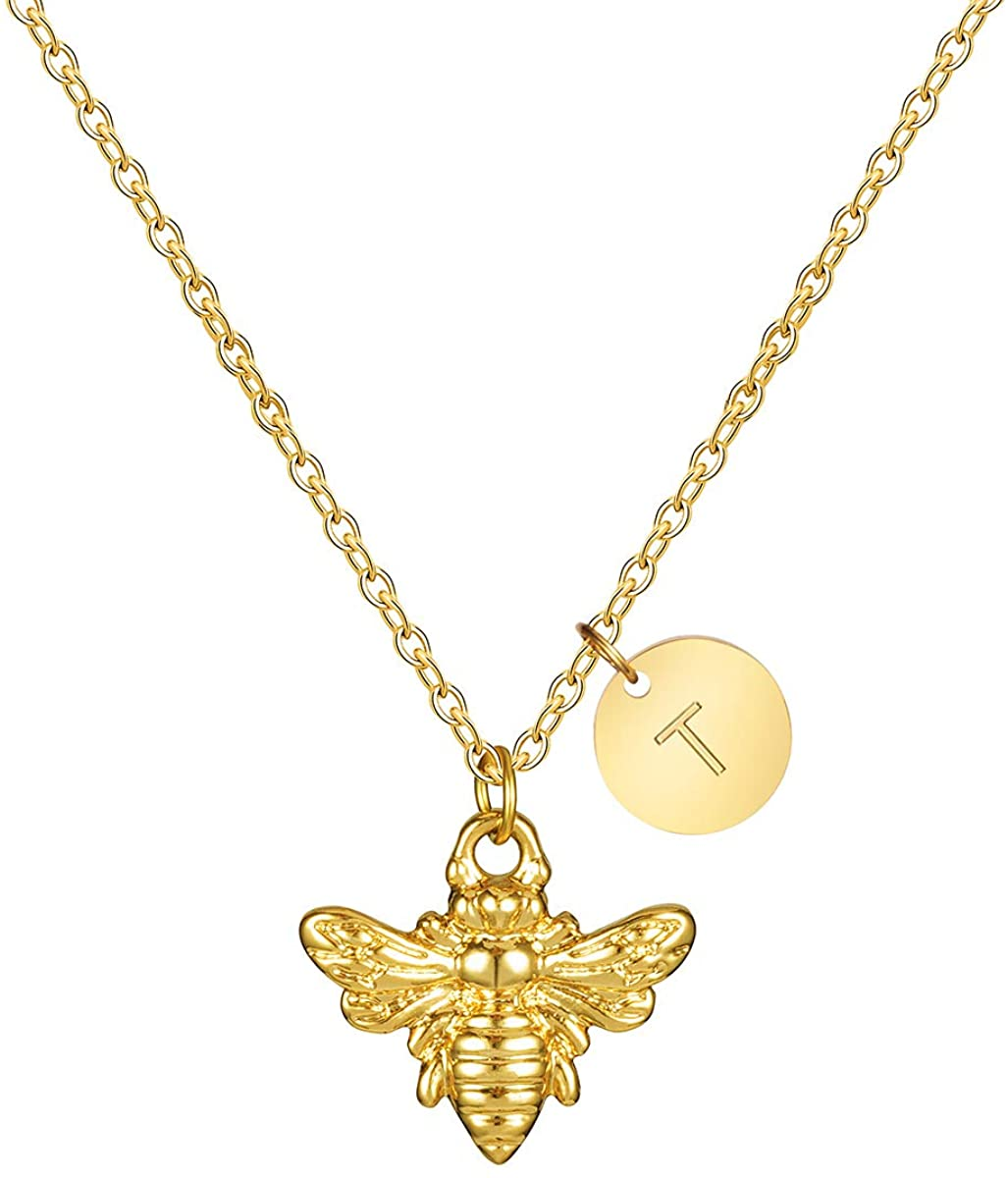 Joycuff 18K Gold Dainty Bee Necklace Personalized for Women Sister Mom Best Friend Wife Daughter Coworker Cute Initial Disc Charm Jewelry