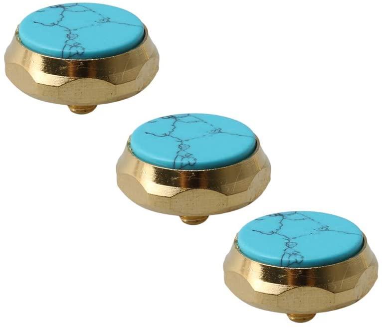 Mxfans 3 x Blue Turquoise Trumpet Finger Button Gold Plated Trumpet Caps Valve