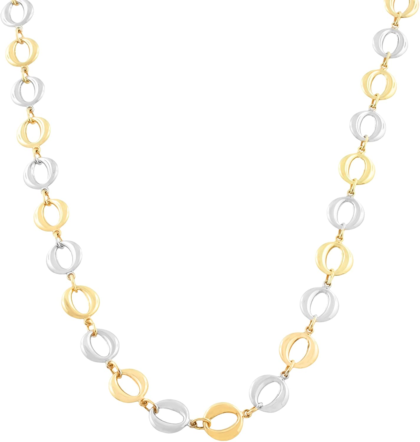 Kooljewelry 10k Two-Tone Gold Puffed Circle Necklace (18 inch)