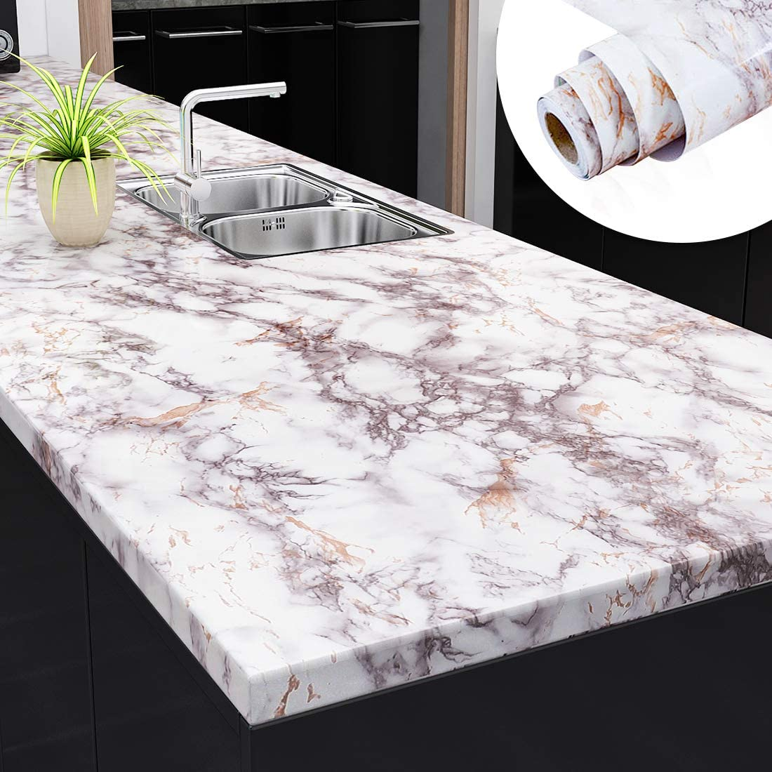 Yenhome Large Size 30x118 inch Grey Brown Contact Marble Peel and Stick Countertops for Kitchen Wallpaper Self Adhesive Removable Wallpaper Waterproof Countertop Contact Paper for Cabinets Shelf Liner