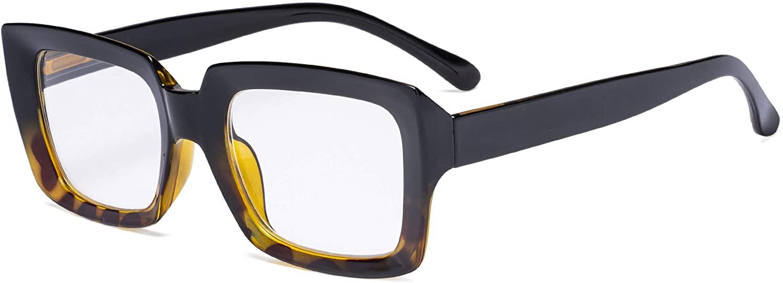 Eyekepper Stylish Reading Glasses Women - Oversized Square Readers Black/Tortoise +0.75