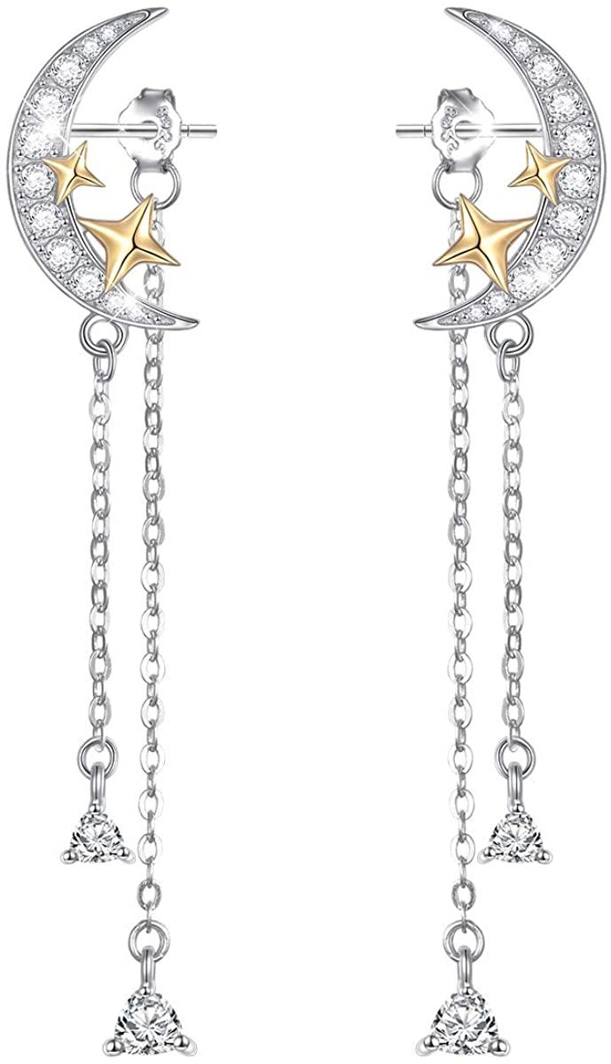 Elegant 925 Sterling Silver Long Tassel Dangle Drop Stud Earrings Jewelry Gift