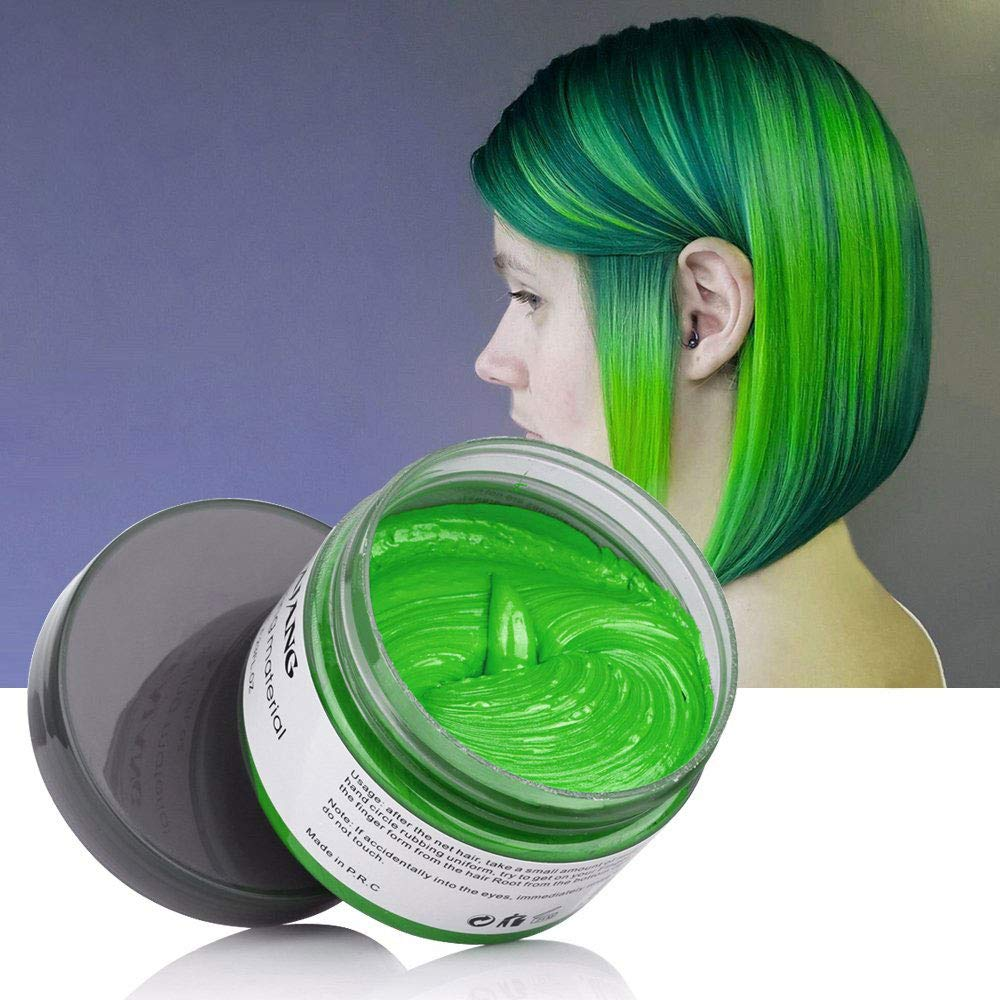 Green Hair Color Wax for Hair Dye Temporary Hairstyle Cream 4.23 oz Pomades Natural Hairstyle Wax for Kids Men Women Party Cosplay Halloween Date (Green)