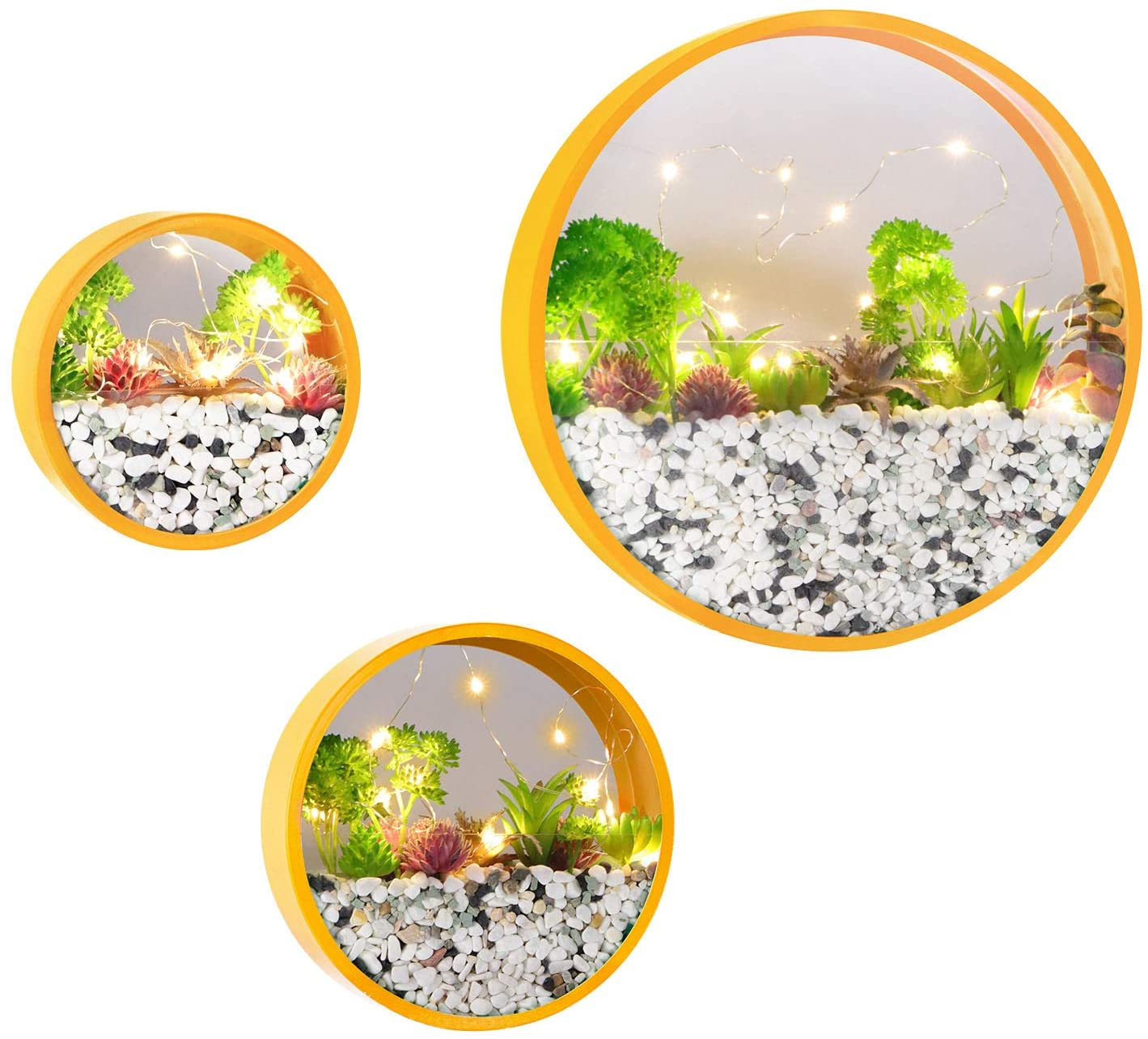 Wistwoxxon Modern Round Glass Wall Planter, 3 Pack Set Wall Planters with LED Light String, Circle Iron Succulent Planter for Herb,Small Cactus Perfect for Balcony, Room and Patio Decor (Yellow)
