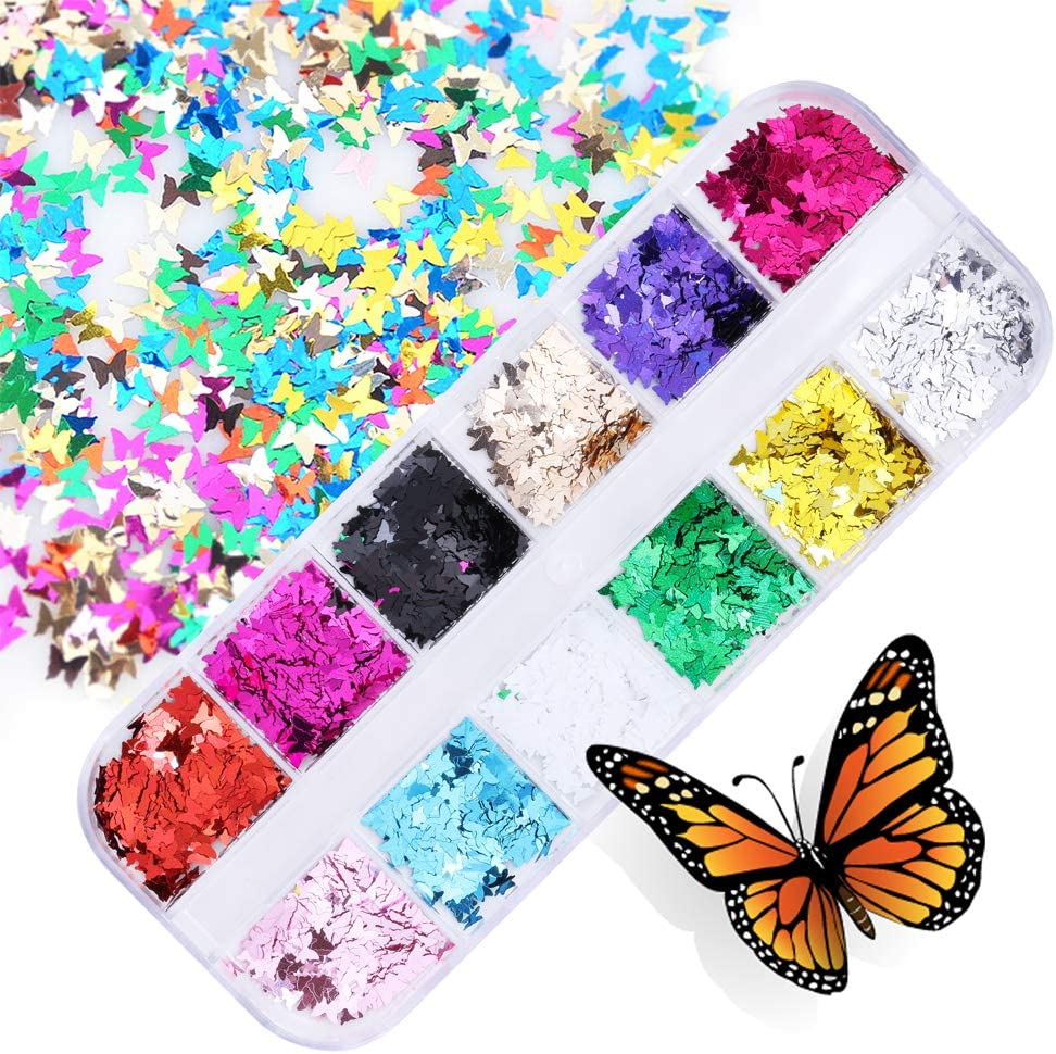 12 Color/Set 3D Holographic Butterfly Glitter Nail Sequins,iinuu Butterfly Nail Decals for Acrylic Nails,Sparkly Nail Butterfly Decorations for Lip Gloss Face Body Glitters & DIY Crafts(a4)