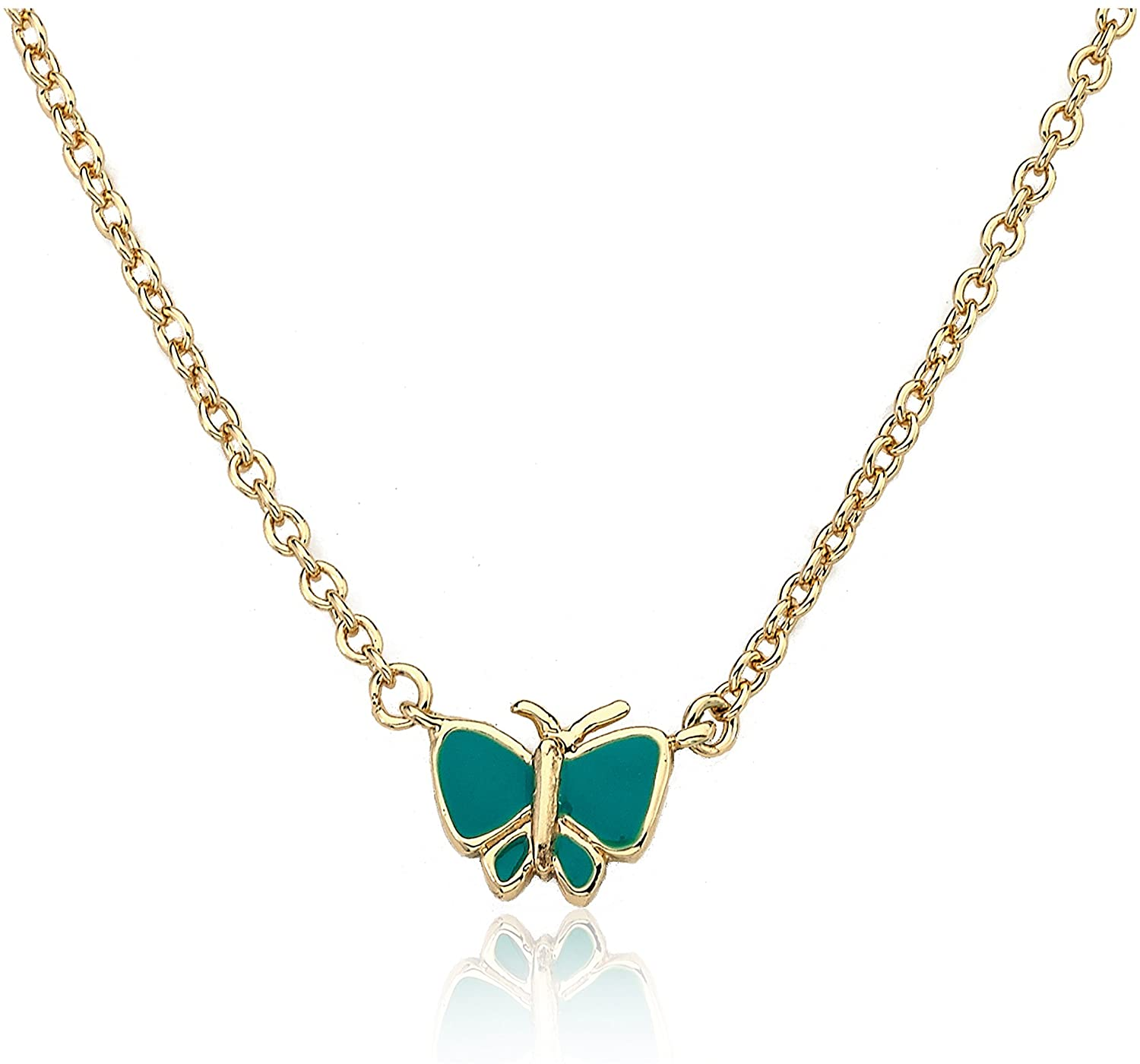 Little Miss Twin Stars Charming Treats 14k Gold-Plated Hot Pink Butterfly Chain Necklace