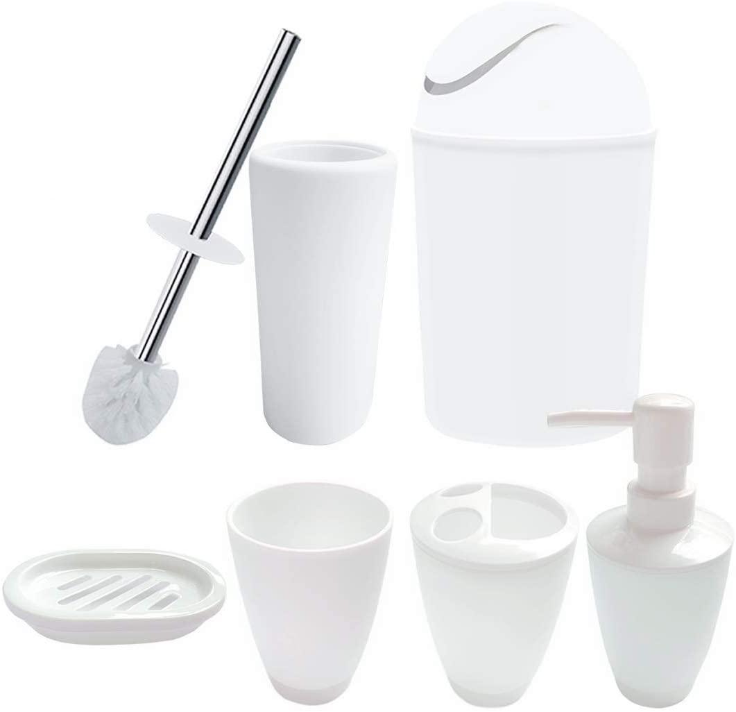 UNBAND Bathroom Accessories Set,6 Pcs Plastic Gift Set Toothbrush Holder,Toothbrush Cup,Soap Dispenser,Soap Dish,Toilet Brush Holder,Trash Can,Tumbler Straw Set Bathroom (White)
