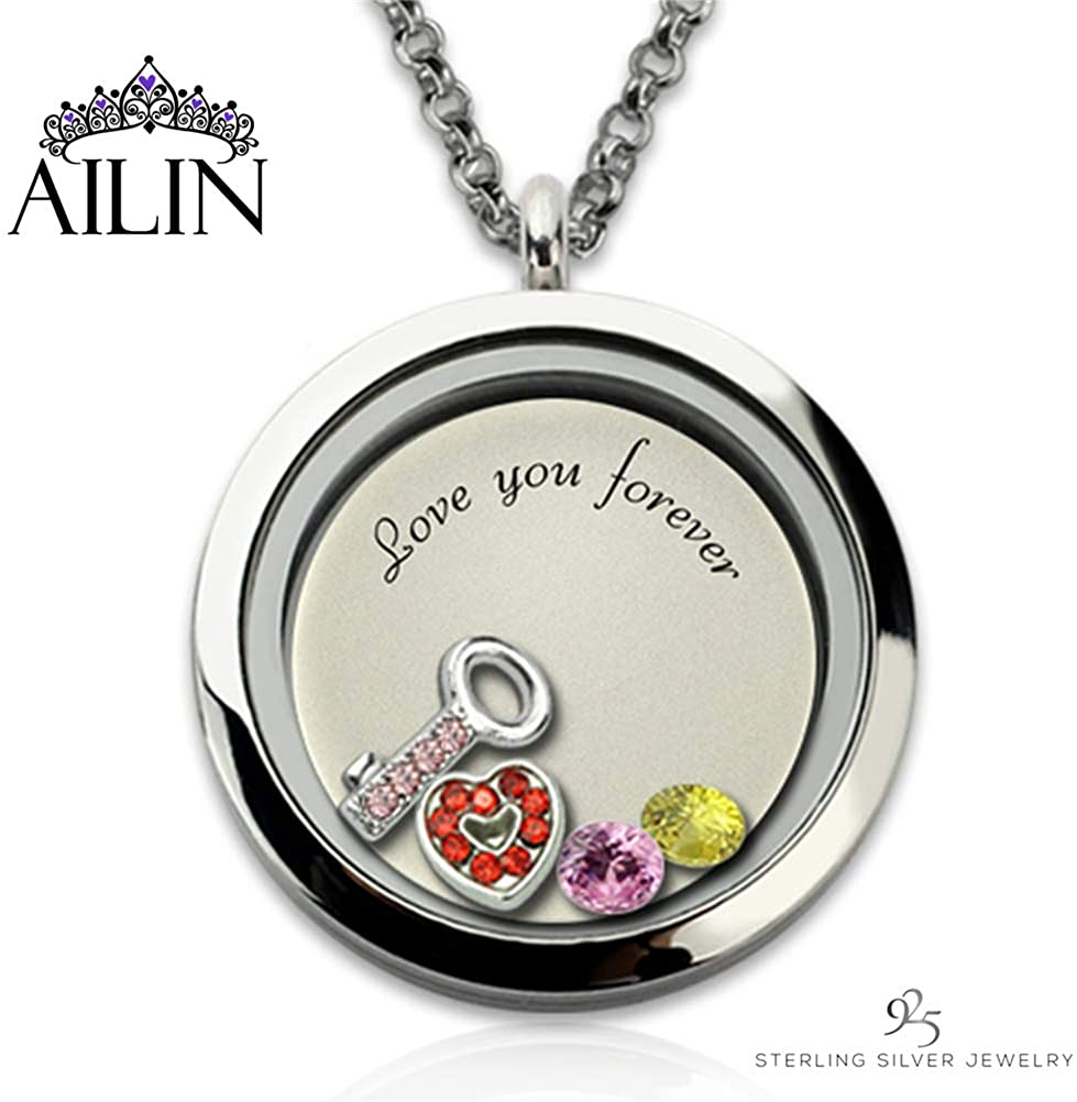 AILIN Personalized Double Heart Love You Forever Key to Heart Floating Locket 12 Birthstones Pendant Necklace Lockets